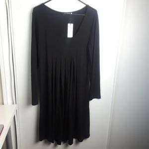 Yidarton Long Sleeve Loose Swing Pleated Dress